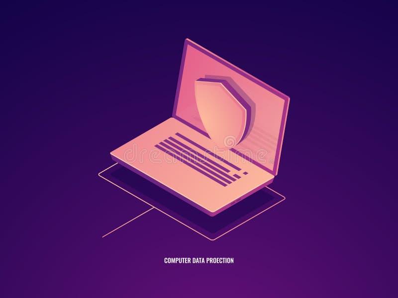 Datordataskydd, bärbar dator med skölden, isometrisk vektor för datasäkerhet royaltyfri illustrationer