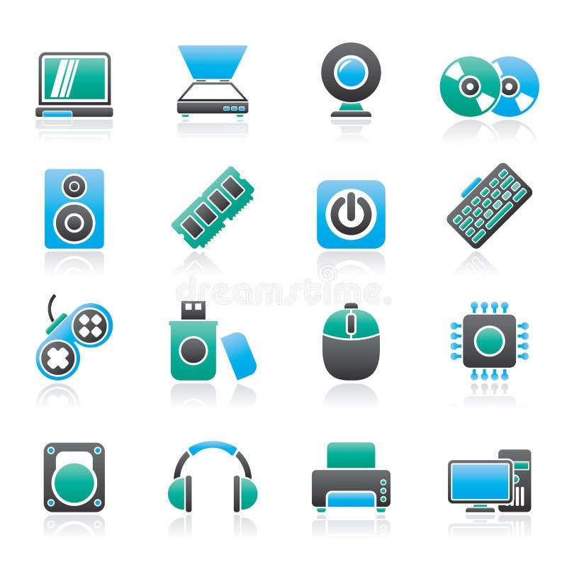 Datordel- och apparatsymboler vektor illustrationer