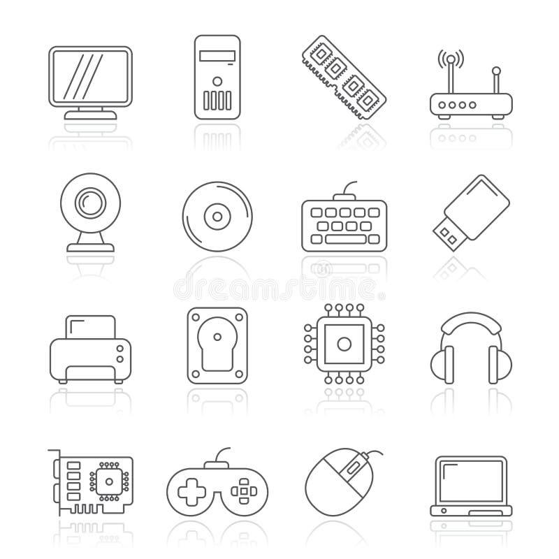 Datordel- och tillbehörsymboler royaltyfri illustrationer