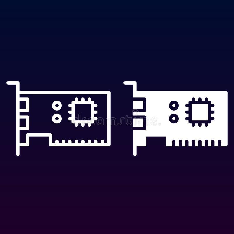 Datordelar fodrar och den fasta symbolen, skisserar och fyllde pictogramen för tecknet för vektorn som linjär och full, isoleras  stock illustrationer