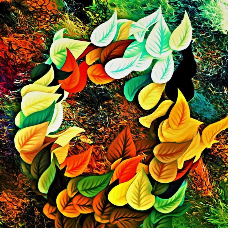 Datordiagram av abstrakt blom- psykedelisk bakgrundsstylization av kulöra kaotiska klistermärkear i form av litteratur vektor illustrationer