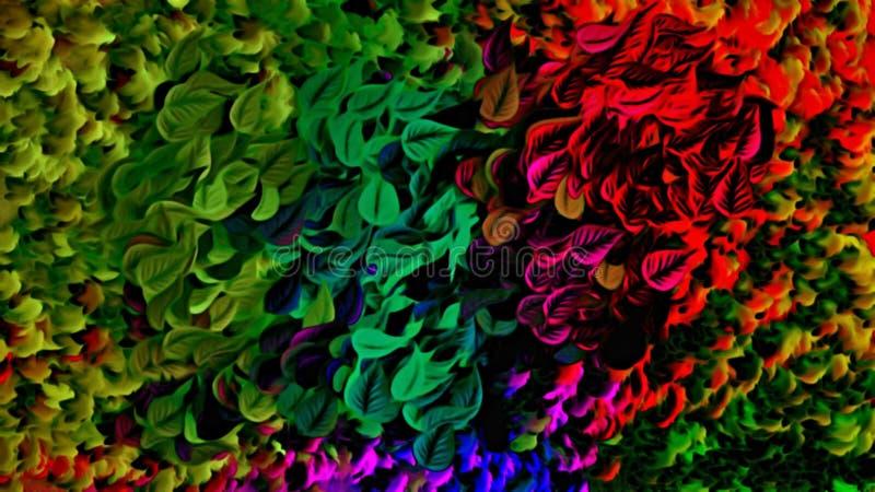 Datordiagram av abstrakt blom- psykedelisk bakgrundsstylization av kulöra kaotiska klistermärkear i form av litteratur royaltyfri illustrationer