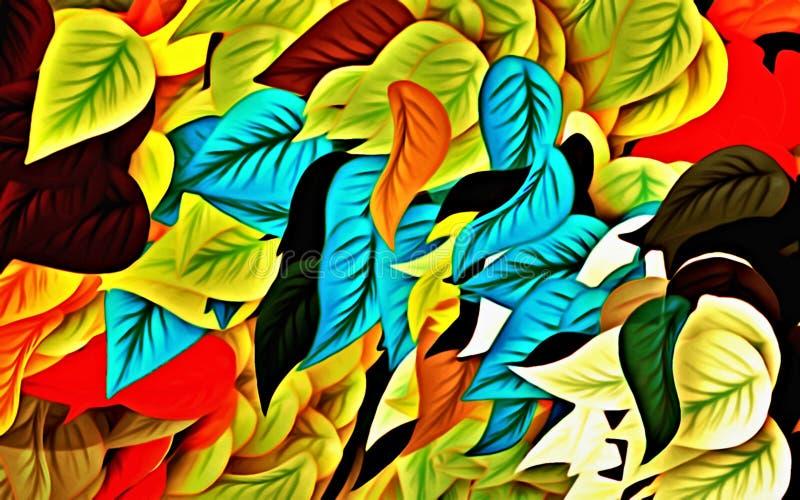Datordiagram av abstrakt blom- psykedelisk bakgrundsstylization av kulöra kaotiska klistermärkear i form av litteratur stock illustrationer