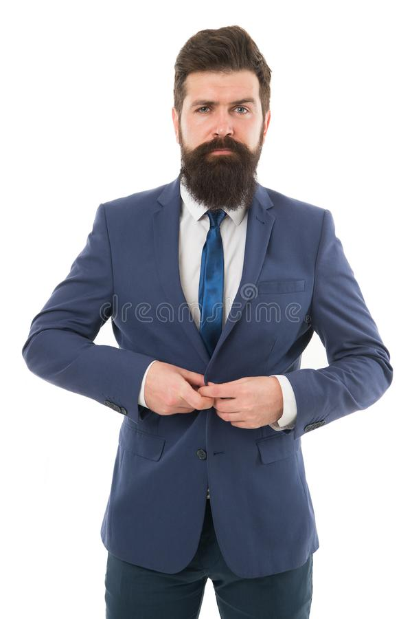 Datore di lavoro serio uomo brutale del capo isolato su bianco Uomo d'affari barbuto in vestito convenzionale Vita dell'ufficio d fotografia stock libera da diritti