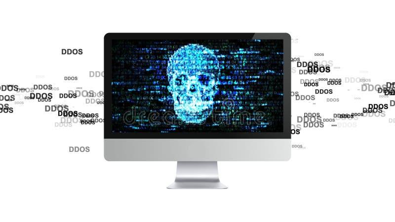 Datoren är bruten DDOS-attack, infektiontrojanen, virus anfaller stock illustrationer