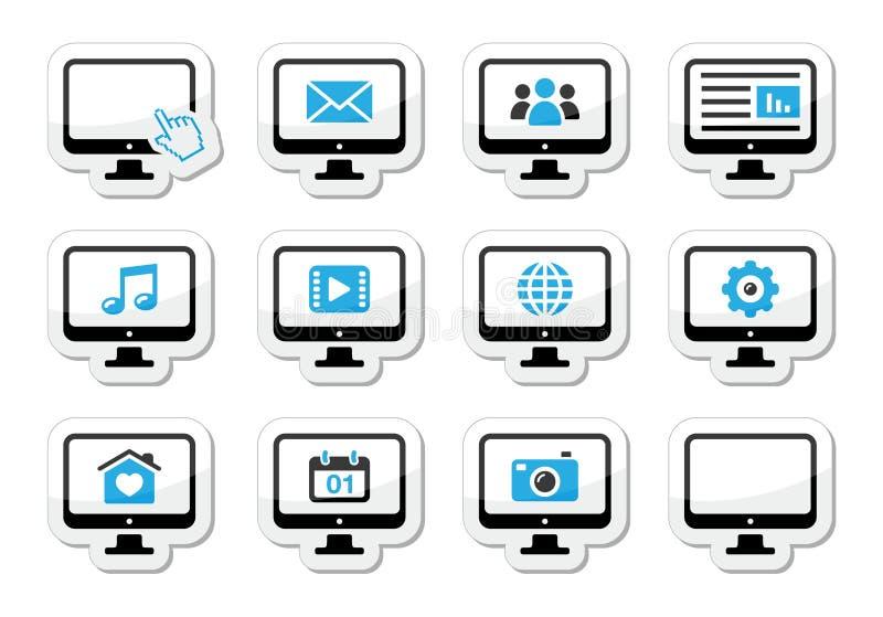 Datoren avskärmer symbolsuppsättningen som etiketter stock illustrationer
