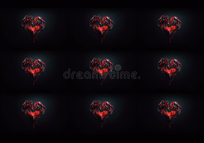 datoren 3d frambragte konstnärligt unikt ljust futuristiskt abstrakt begrepp som färgrik hjärta formade fractalskonstverkbakgrund stock illustrationer