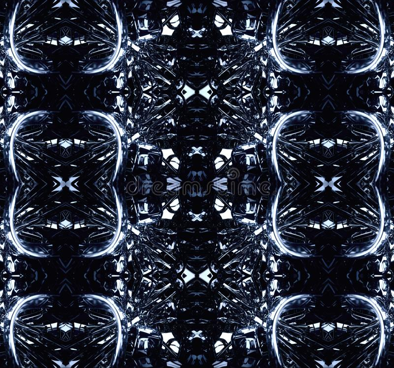 datoren 3d frambragte ljust konstnärligt slätt modernt teknologiskt abstrakt fractalskonstverk stock illustrationer