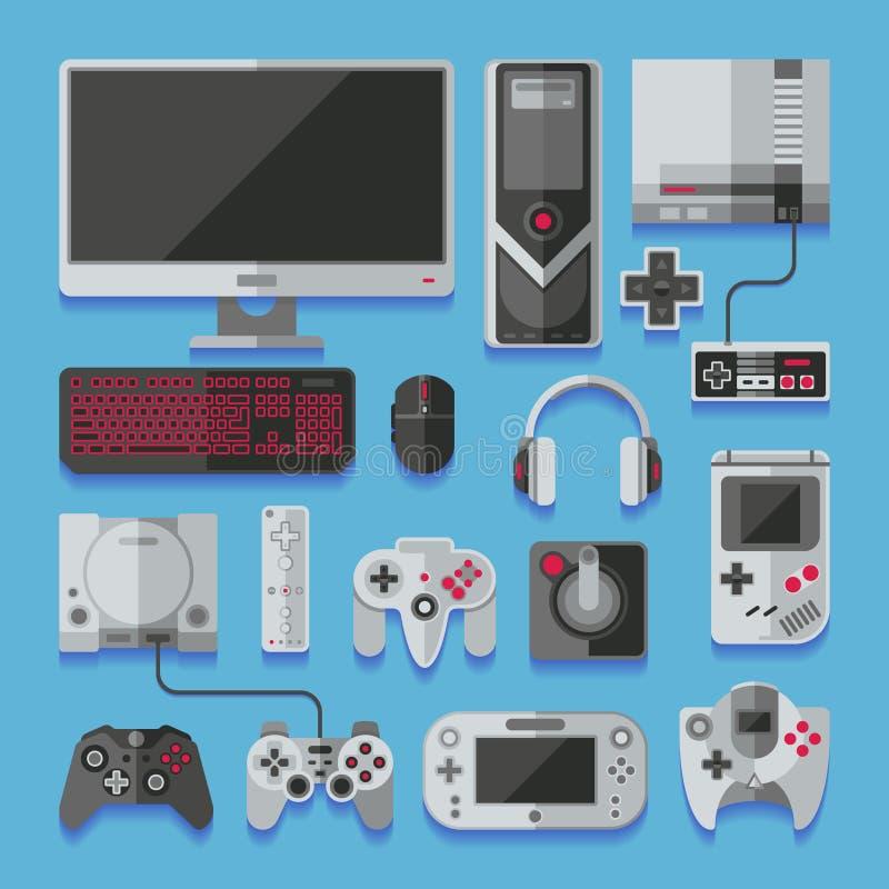 Datoren den digitala konsolen för videoonline spelet, lek bearbetar vektoruppsättningen vektor illustrationer
