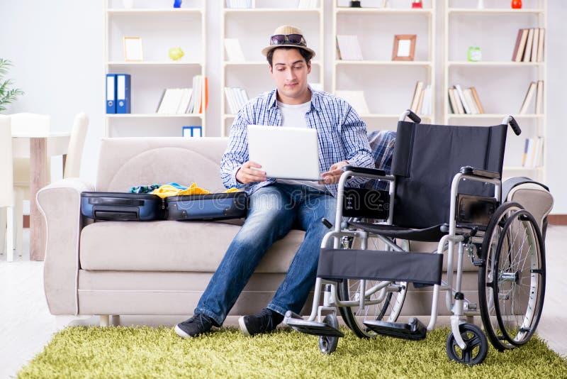 Datoren för bärbar dator för lopp för handikappade personermanbokning den online-användande fotografering för bildbyråer