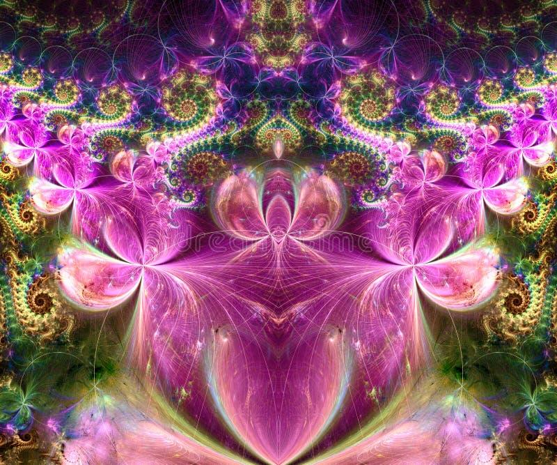 Datoren frambragte abstrakt färgrikt symmetriskt fractalkonstverk royaltyfri illustrationer