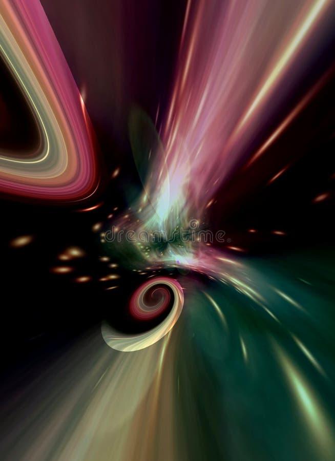 Datoren frambragte den abstrakta spiralgalaxen i poetiska färger royaltyfri illustrationer