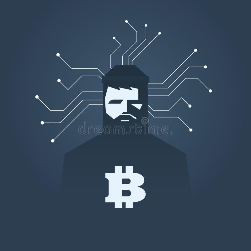 Datoren hacker och ransomwarevektorbegrepp Brottslig dataintrång, datastöld och utöva utpressning motsymbol Digitala Bitcoin royaltyfri illustrationer