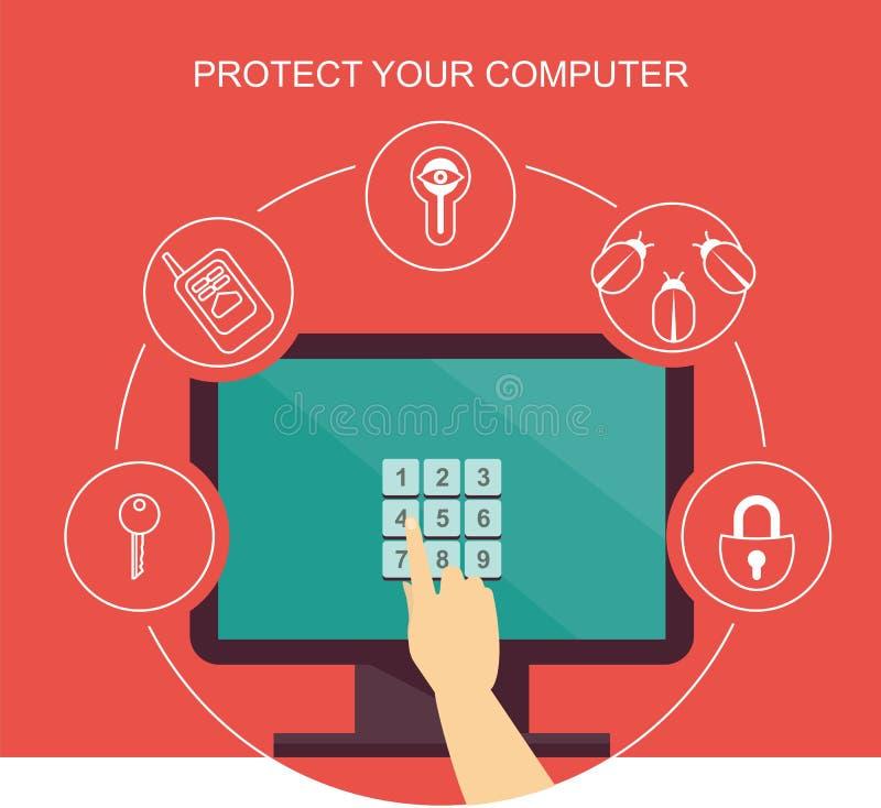 datoren skyddar ditt royaltyfri illustrationer