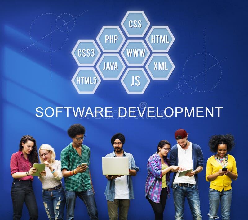 Datoren som programmerar IT, kodifierar utvecklingsbegrepp royaltyfri foto