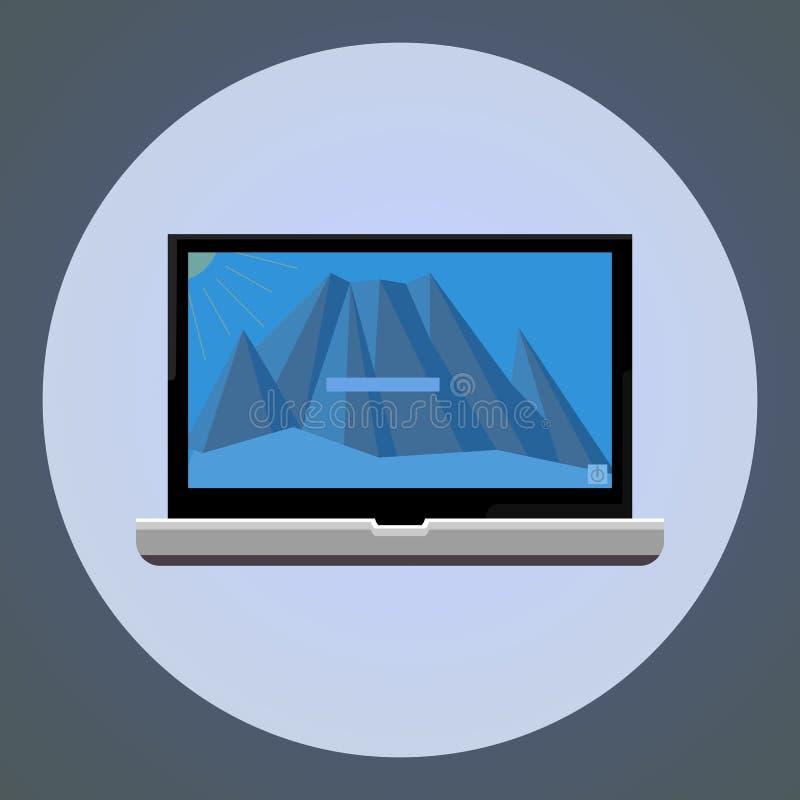 datorer trevlig teckning för skärmlandskapvektor av en bärbar datordator stock illustrationer