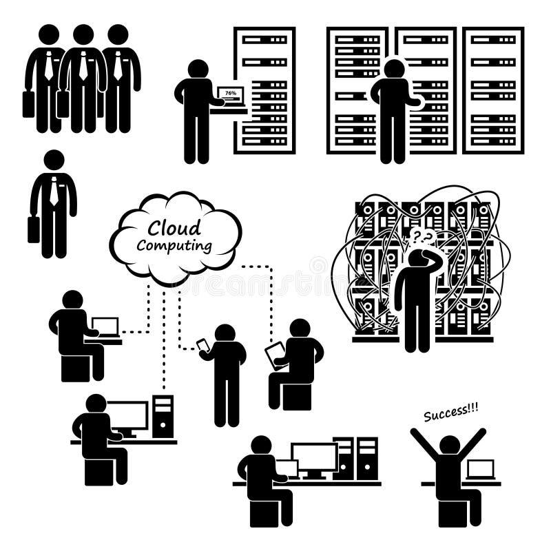 Datorhall för datornätserver royaltyfri illustrationer