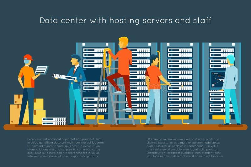 Datorhall med varande värd serveror och personalen royaltyfri illustrationer
