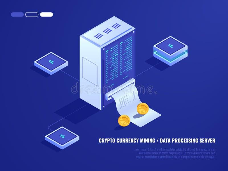 Datorhall som bryter crypto valutamaskinvara, serverrum, mynt, dator som bearbetar makt, isometrisk databas vektor illustrationer