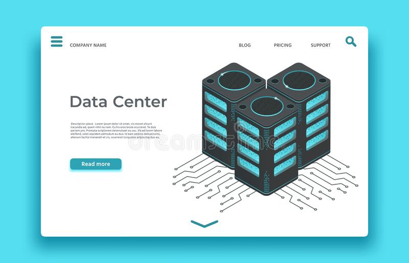 Datorhall som landar sidan Isometrisk servervektordesign royaltyfri illustrationer