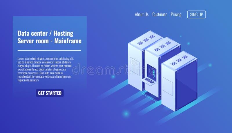Datorhall website som är värd, serverrumkugge, värddatorresurs, datacenter, databas, stora data - bearbeta som är isometriskt royaltyfri illustrationer