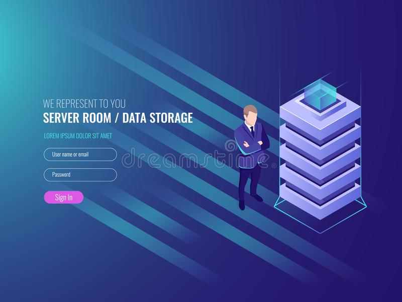Datorhallbegrepp, databaser och informationssäkerhet om internet, systemadministration, IT isometrisk 3d royaltyfri illustrationer