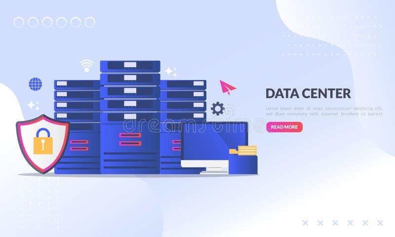 Datorhallbegreppet, teknologi av dataskydd och att bearbeta, den varande värd serveren för molnanslutning, databas synkroniserar  stock illustrationer