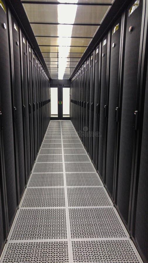 Datorhallen, Co-läget och service för IT-molnet arkivbild