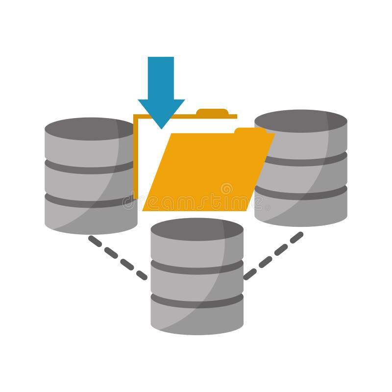 Datorhallskivor med den mapp isolerade symbolen stock illustrationer