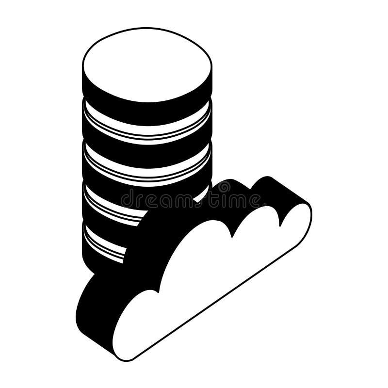 Datorhallskivor och moln som ber?knar den isometriska symbolen vektor illustrationer