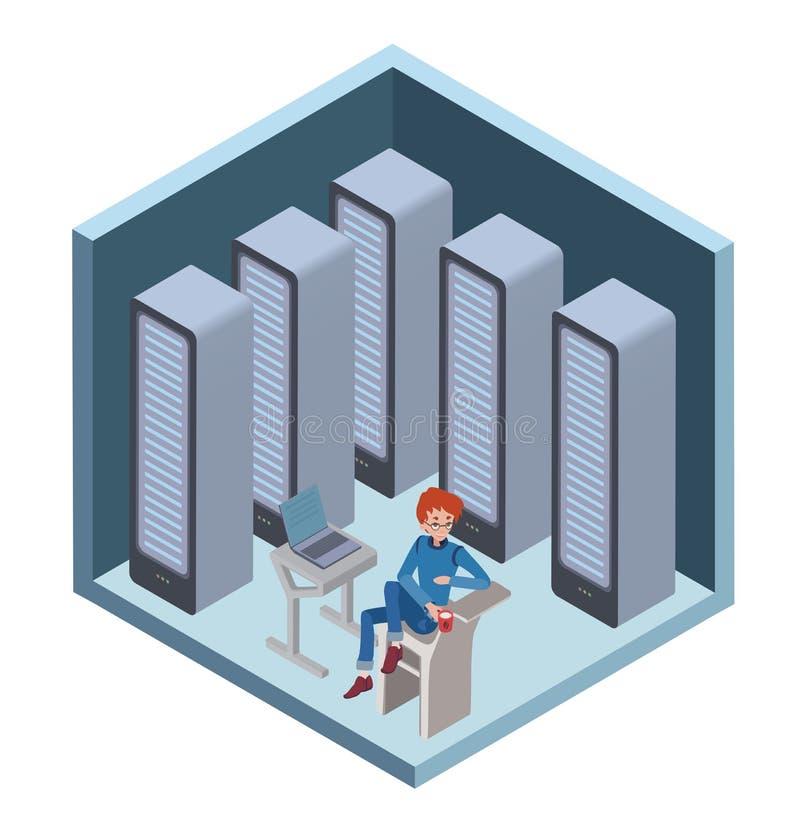Datorhallsymbol, systemadministratör Mansammanträde på datoren i serverrum Vektorillustration i isometriskt stock illustrationer