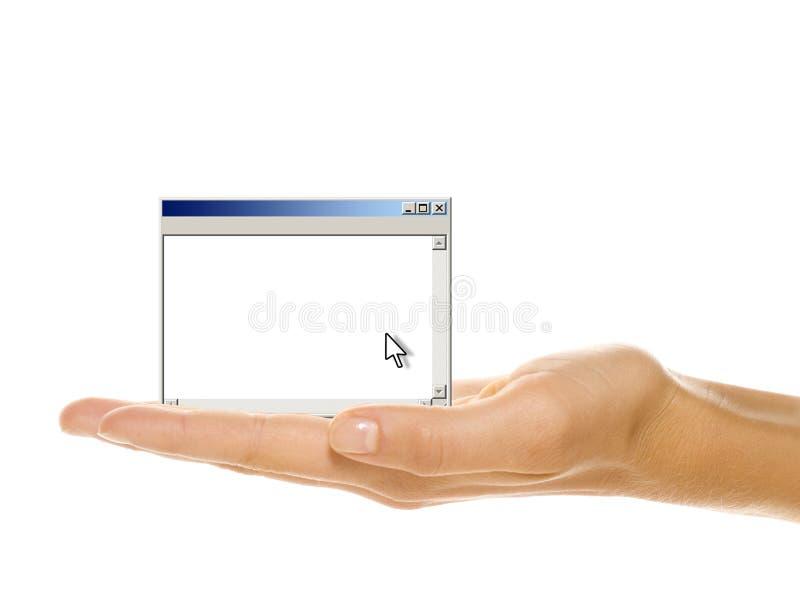 datorhandfönster royaltyfri foto