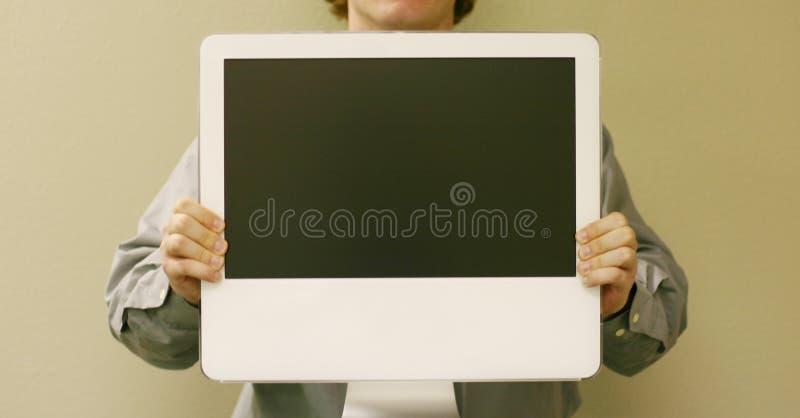 datorholdingman royaltyfri fotografi
