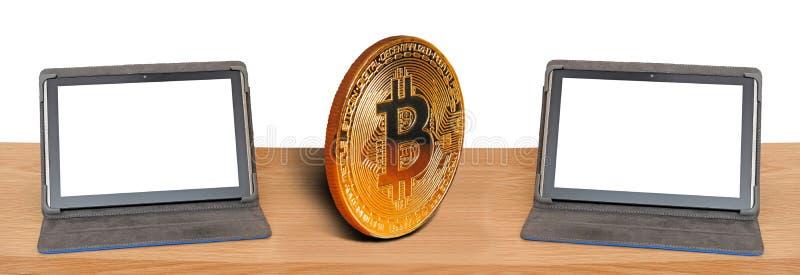 Datorinternetonline-bitcoin som handlar internationella kommunikationer för global rengöringsduk arkivbild