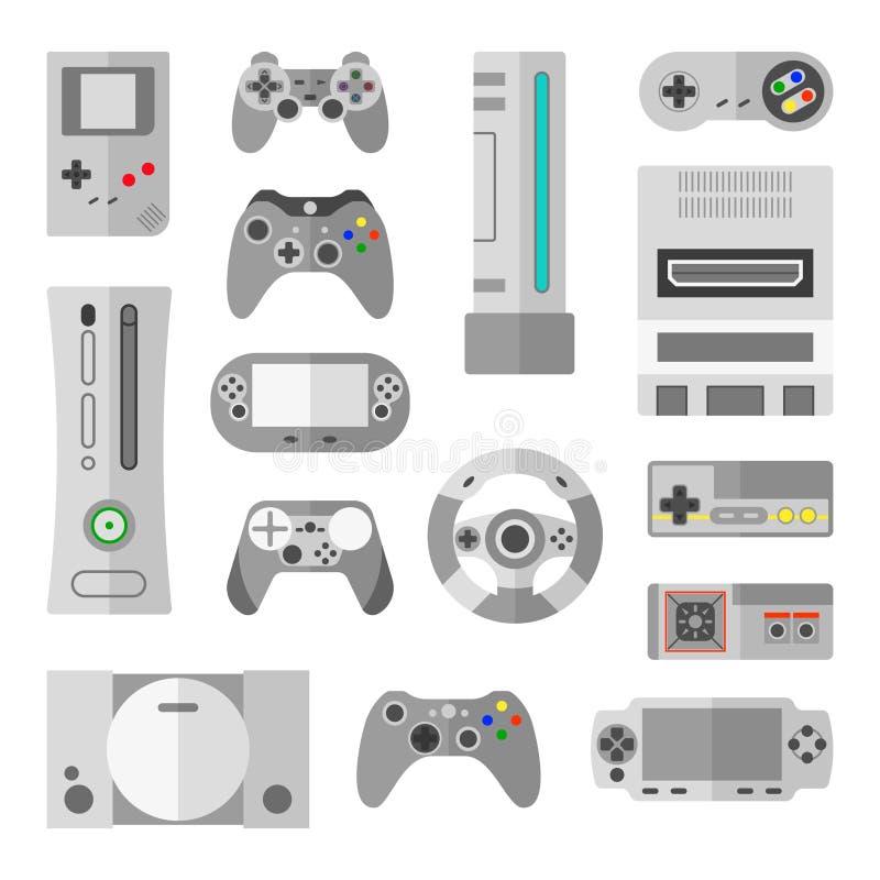 Datorkonsol med modiga kontrollanter för videospel Vektorillustrationer i tecknad filmstil stock illustrationer