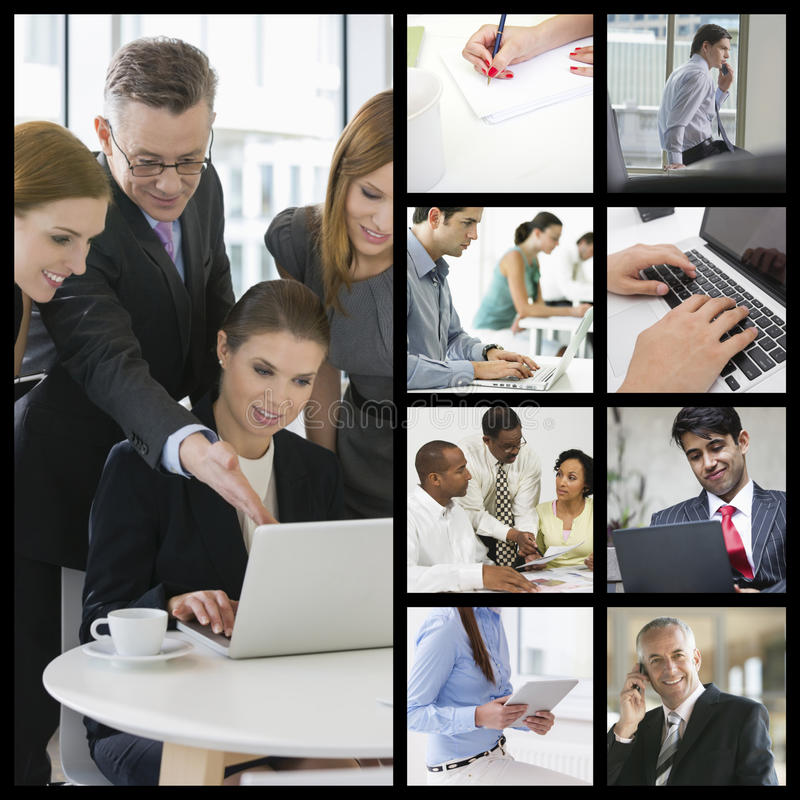 Datorkopiering av affärsfolk som i regeringsställning arbetar royaltyfri fotografi