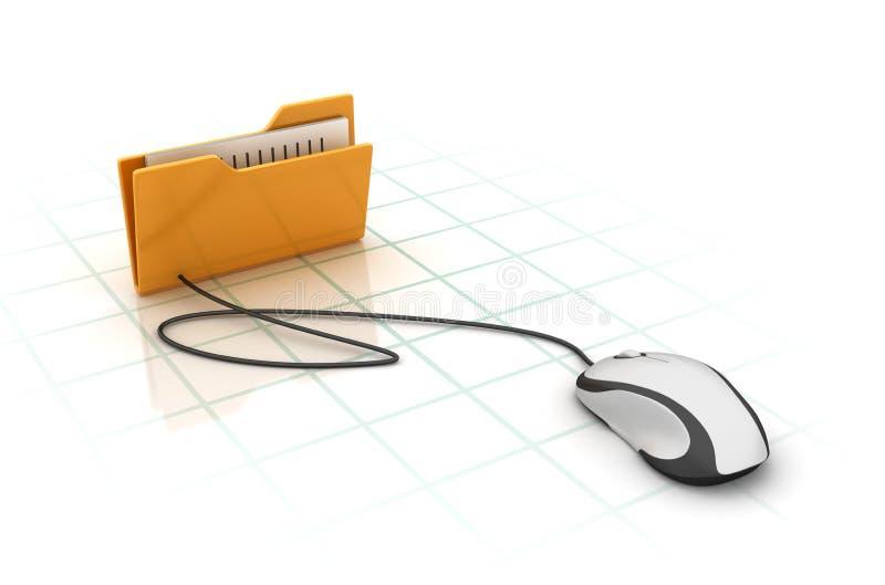 Datormapp med datormusen stock illustrationer