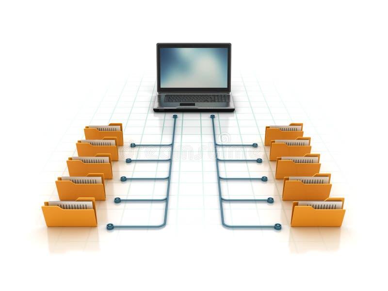 Datormappar med bärbara datorn royaltyfri illustrationer