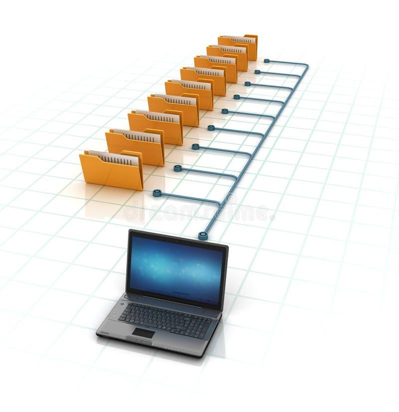 Datormappar med bärbara datorn stock illustrationer
