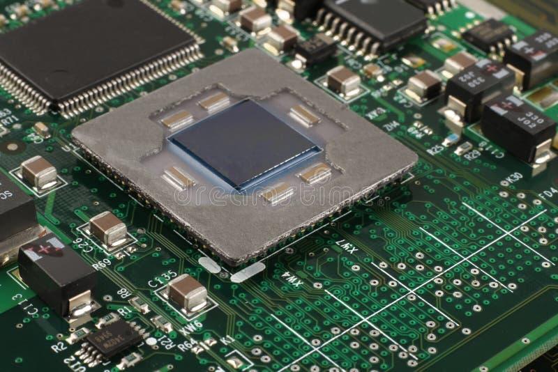 Datormikroprocessorcloseup arkivfoto