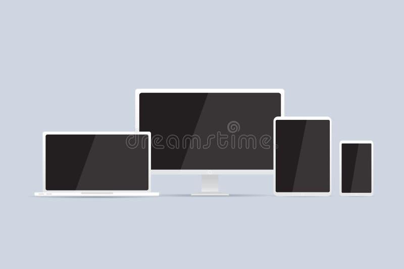 Datormodelluppsättning Lcd-bildskärm, bärbar dator, minnestavla, mobiltelefon vektor illustrationer