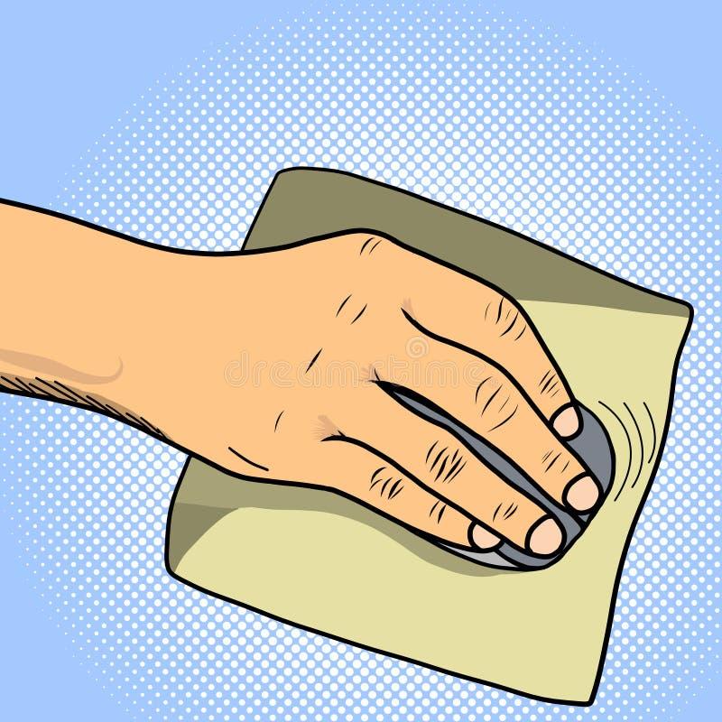 Datormus och mousepad i hand av illustrationen för vektor för manpopkonst royaltyfri illustrationer