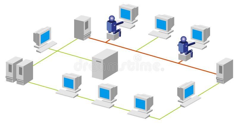 datornät vektor illustrationer