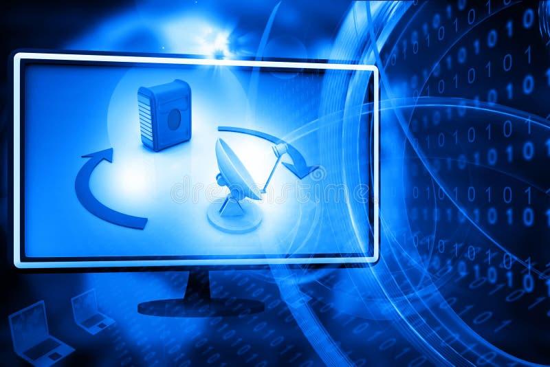 Datornät- och internetkommunikation vektor illustrationer