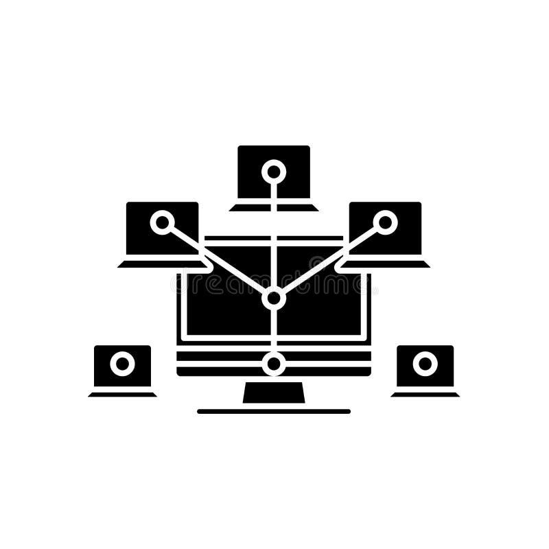 Datornätsvartsymbol, vektortecken på isolerad bakgrund Datornätbegreppssymbol, illustration royaltyfri illustrationer