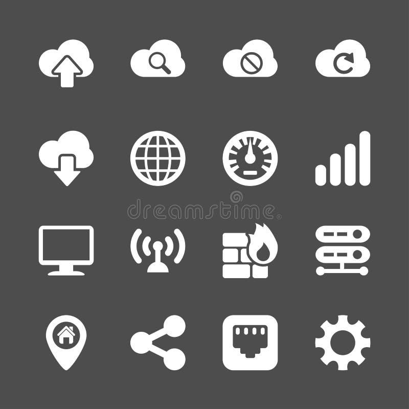 Datornätsymbolsuppsättning, vektor eps10 royaltyfri illustrationer