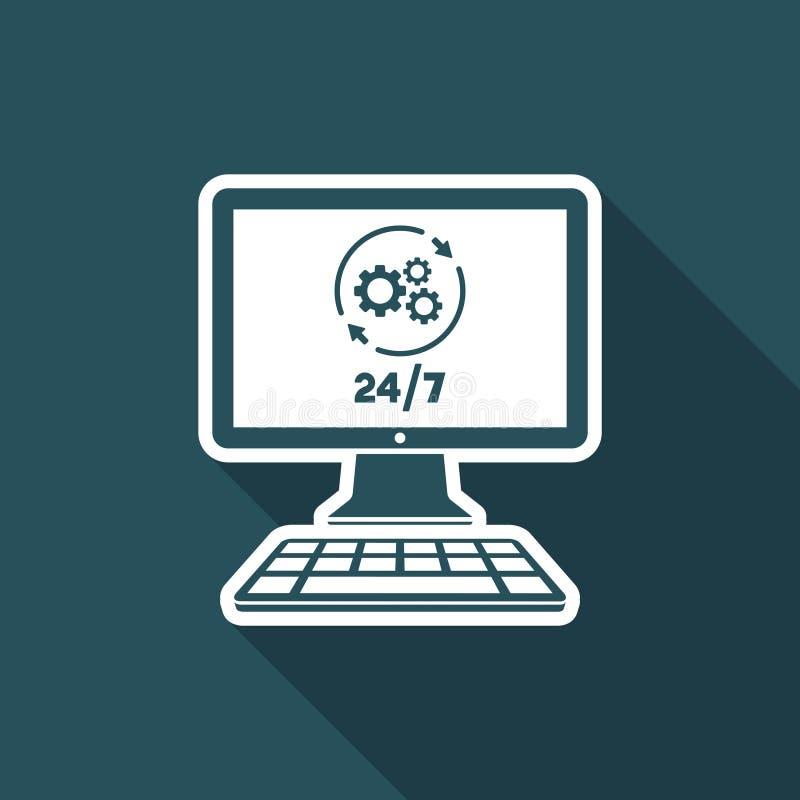 Datorreparationshjälp 24/7 - plan symbol för vektor stock illustrationer