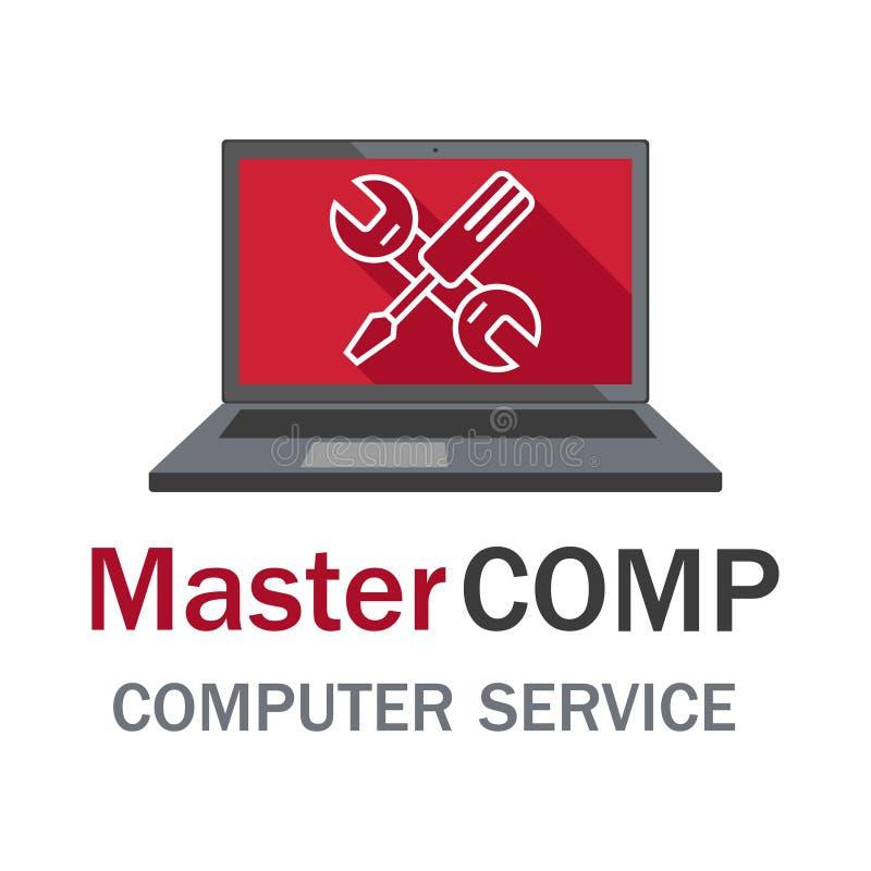 Datorreparationsservice bärbar datorskruvmejselskiftnyckel stock illustrationer