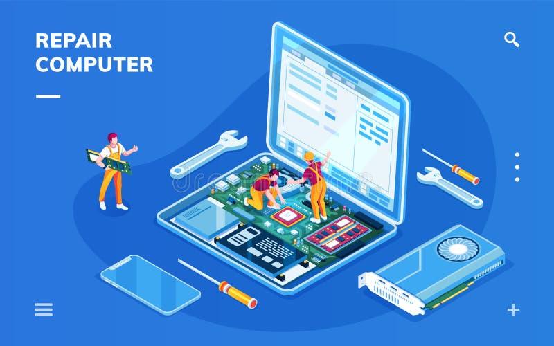 Datorreparationsservice för smartphoneapplikation vektor illustrationer