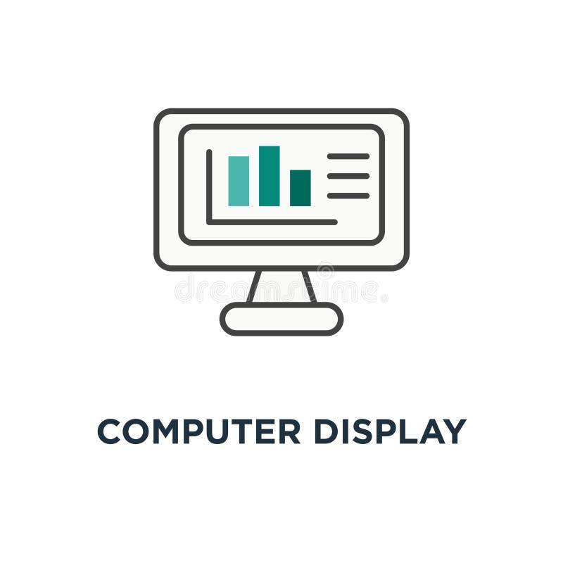 datorskärm med grafer, diagramstänger och finansiell analytics, affär och fenasymbol, symbol av tech, finansiell design, vektor illustrationer
